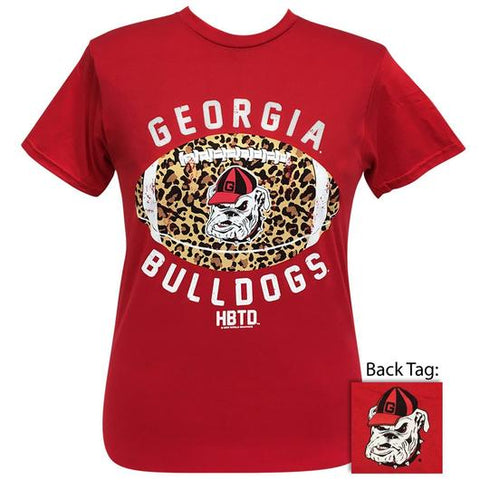 Georgia Bulldogs Leopard Football T-Shirt