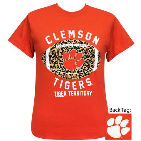Clemson Tigers Leopard Football T-Shirt