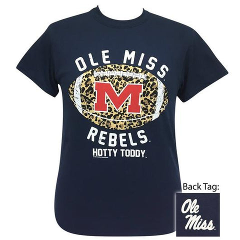 Ole Miss Rebels Leopard Football T-Shirt