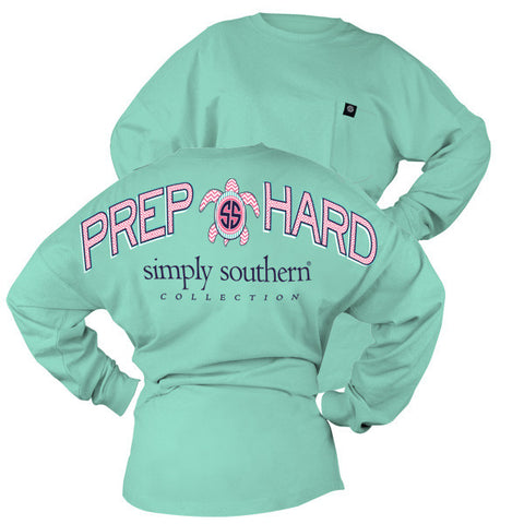 SALE Simply Southern Prep Hard Turtle Logo Sweeper Long Sleeve Oversized Top Pocket Shirt Jersey