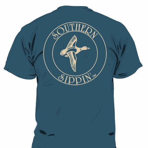Southern Sippin Duck Navy Pigment Dyed Unisex Pocket T-Shirt - SimplyCuteTees