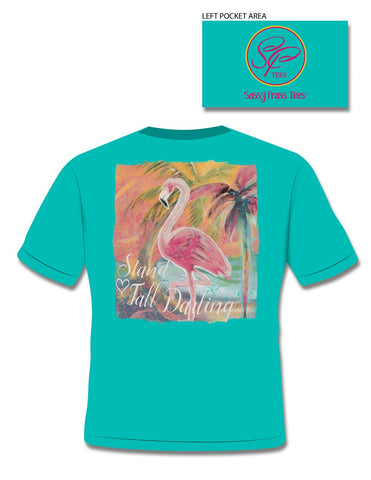 Sassy Frass Stand Tall Darlin Flamingo Comfort Colors Bright Girlie T Shirt
