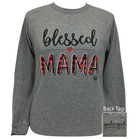 Girlie Girl Originals Preppy Plaid Blessed Mama Long Sleeve T-Shirt
