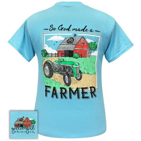 Girlie Girl Originals Preppy God Made A Farmer Tractor T-Shirt