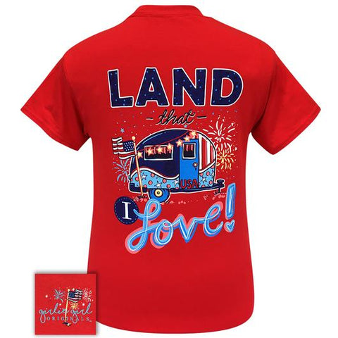 Girlie Girl Originals Preppy Land I Love Flag USA Camper T-Shirt