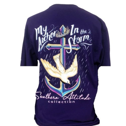 Southern Attitude Preppy Anchor In The Storm Purple T-Shirt