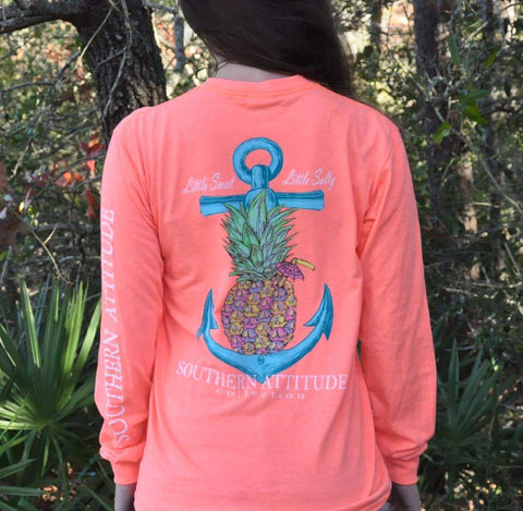 Southern Attitude Pineapple Anchor Little Sweet Little Salty Long Sleeve T-Shirt