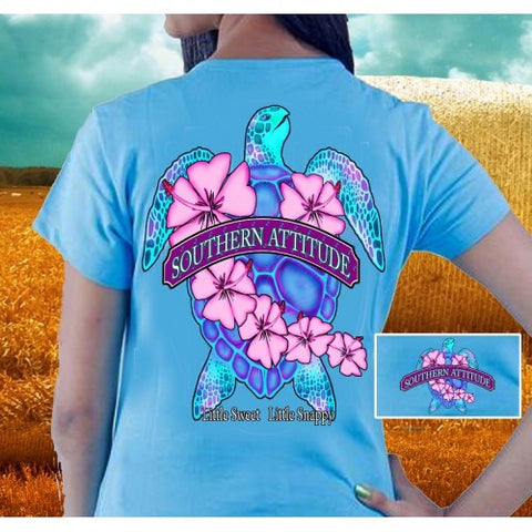 Country Life Outfitters Southern Attitude Snappy Sea Turtle Flower Carolina Blue Vintage Girlie Bright T Shirt - SimplyCuteTees