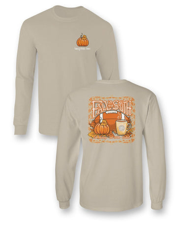 SALE Sassy Frass Fall in the South Pumpkin Cold Mornings Hot Drinks Football Bright Long Sleeve T Shirt
