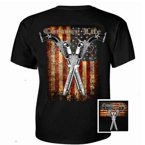 Country Life Outfitters USA  American Flag Guns Vintage Unisex Black Bright T Shirt - SimplyCuteTees
