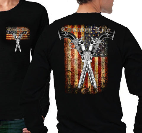 Country Life Outfitters USA American Flag Guns Vintage Unisex Black Long Sleeves Bright T Shirt - SimplyCuteTees