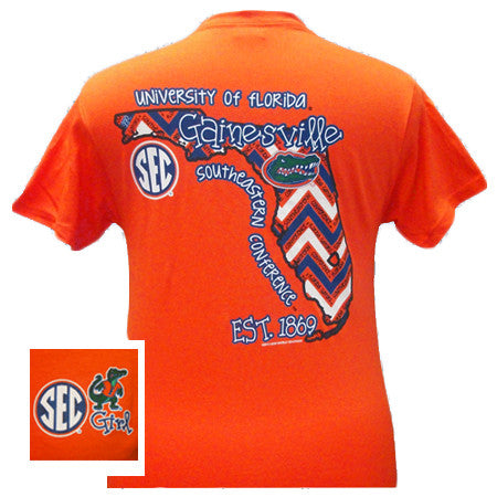 SALE Florida Gators Preppy Chevron State Girlie Bright T Shirt