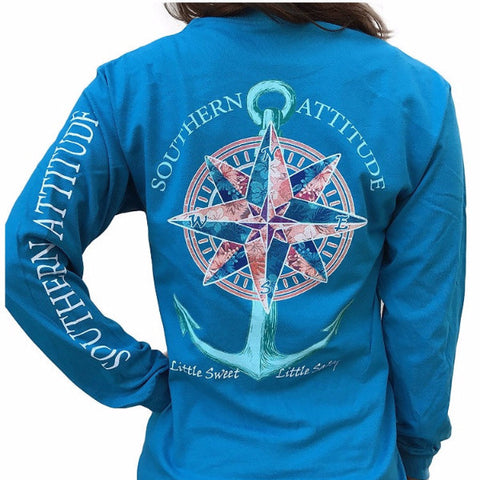 Southern Attitude Preppy Sea Compass Anchor Long Sleeve T-Shirt