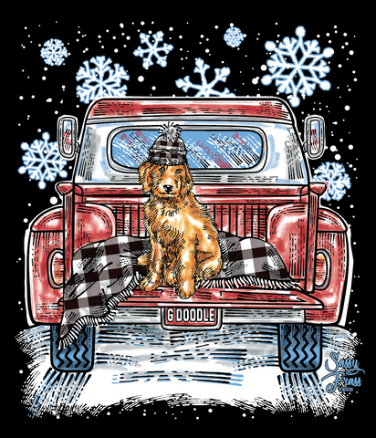 Sassy Frass Snow G Doodle Dog Truck Bright Girlie Long Sleeves T Shirt