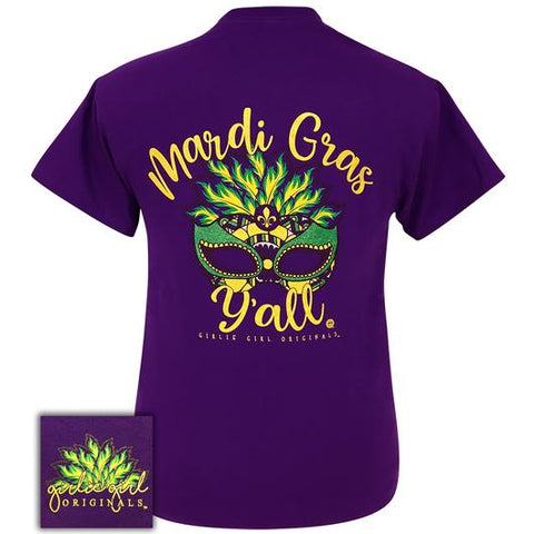Girlie Girl Originals Preppy Mardi Gras Y'all Mask T-Shirt
