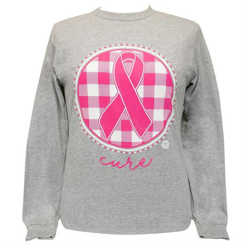 Girlie Girl Originals Cure Ribbon Plaid Cancer Long Sleeve T-Shirt