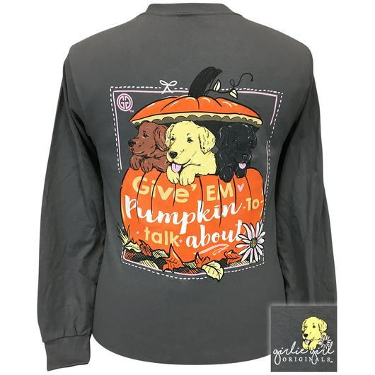 Girlie Girl Originals Puppy Dogs Pumpkin Fall Long Sleeve T-Shirt
