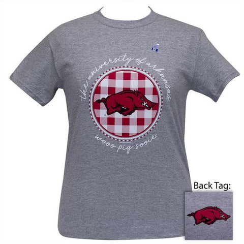 Arkansas Razorbacks Buffalo Plaid Logo Sports Grey T-Shirt