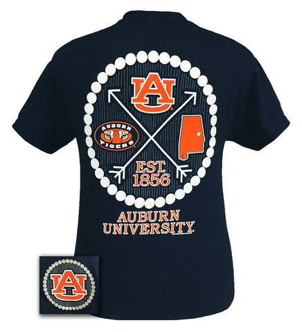 Auburn Tigers War Eagle Preppy Arrow Pearls Bright T-Shirt - SimplyCuteTees
