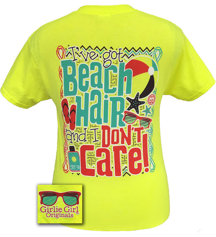 Girlie Girl Originals Beach Hair And Don't Care Summer Bright T Shirt