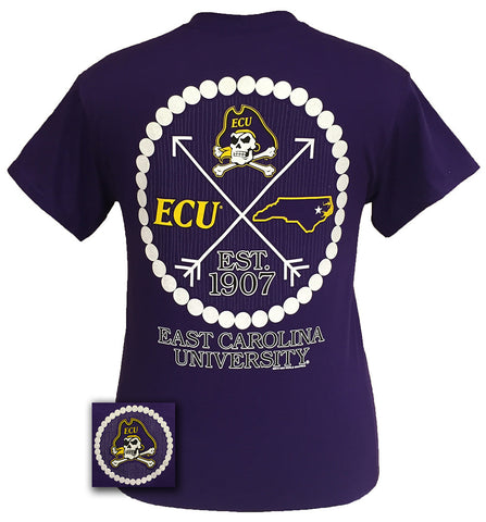 ECU East Carolina Pirates Preppy Pearls Arrow Girlie T-Shirt