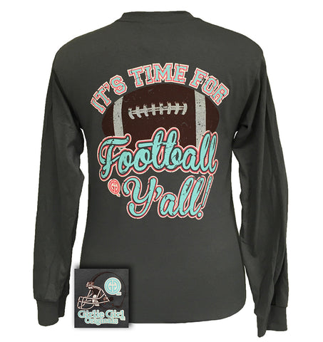 SALE Girlie Girl Originals Time For Football Y'all Team Long Sleeve T Shirt