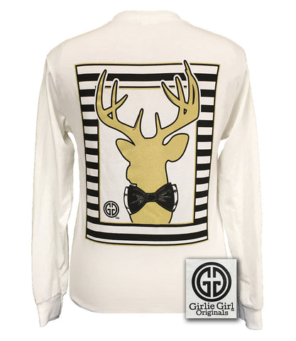 Girlie Girl Originals Collection Preppy Gold Deer Country White Long Sleeves T Shirt - SimplyCuteTees