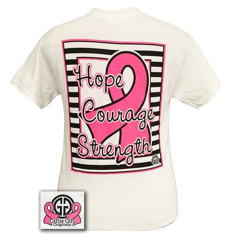 Girlie Girl Preppy Hope Courage Strength Breast Cancer Bright T Shirt