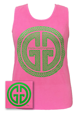 Girlie Girl Originals GGO Logo Tank Comfort Colors Neon Pink Bright Tank Top - SimplyCuteTees