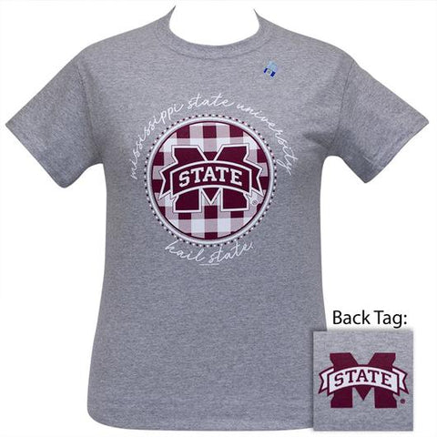 MSU Mississippi State Bulldogs Buffalo Plaid Logo Sports Grey T-Shirt