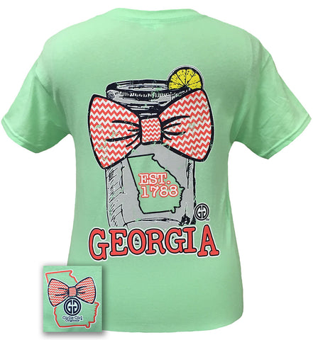 Girlie Girl Originals Georgia Chevron Mason Jar Preppy State Bow Bright T Shirt - SimplyCuteTees