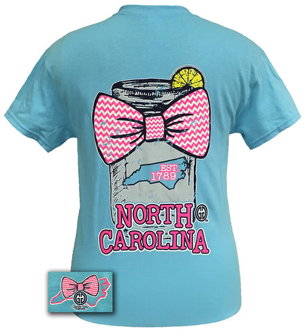 Girlie Girl Originals North Carolina Chevron Mason Jar Preppy State Bow Bright T Shirt