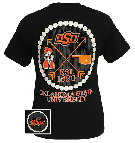 OSU Oklahoma State Cowboys Prep Arrow Pearls Girlie Bright T Shirt
