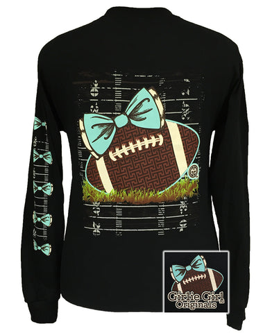 Girlie Girl Originals Preppy Football Team Big Bow Long Sleeves Bright T Shirt