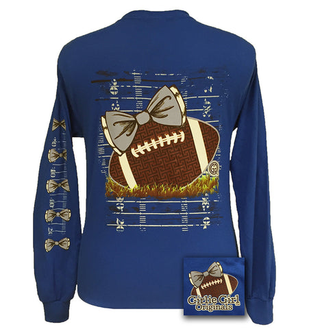 SALE Girlie Girl Originals Preppy Football Team Big Bow Long Sleeve Blue T Shirt