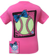 Girlie Girl Originals Preppy Softball Big Bow Sports Bright T Shirt - SimplyCuteTees