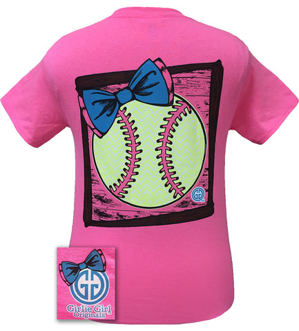Girlie Girl Originals Preppy Softball Big Bow Sports Bright T Shirt