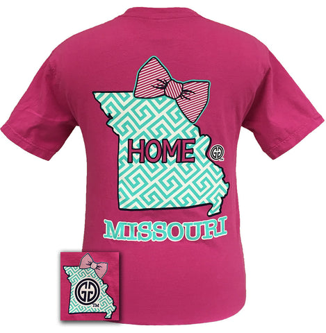 Girlie Girl Missouri Preppy State Chevron Comfort Colors Rasberry Bright T Shirt