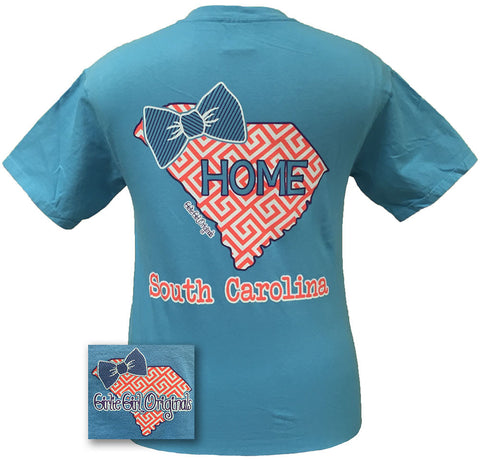 Girlie Girl Originals South Carolina Preppy State Bow Comfort Colors Bright T Shirt