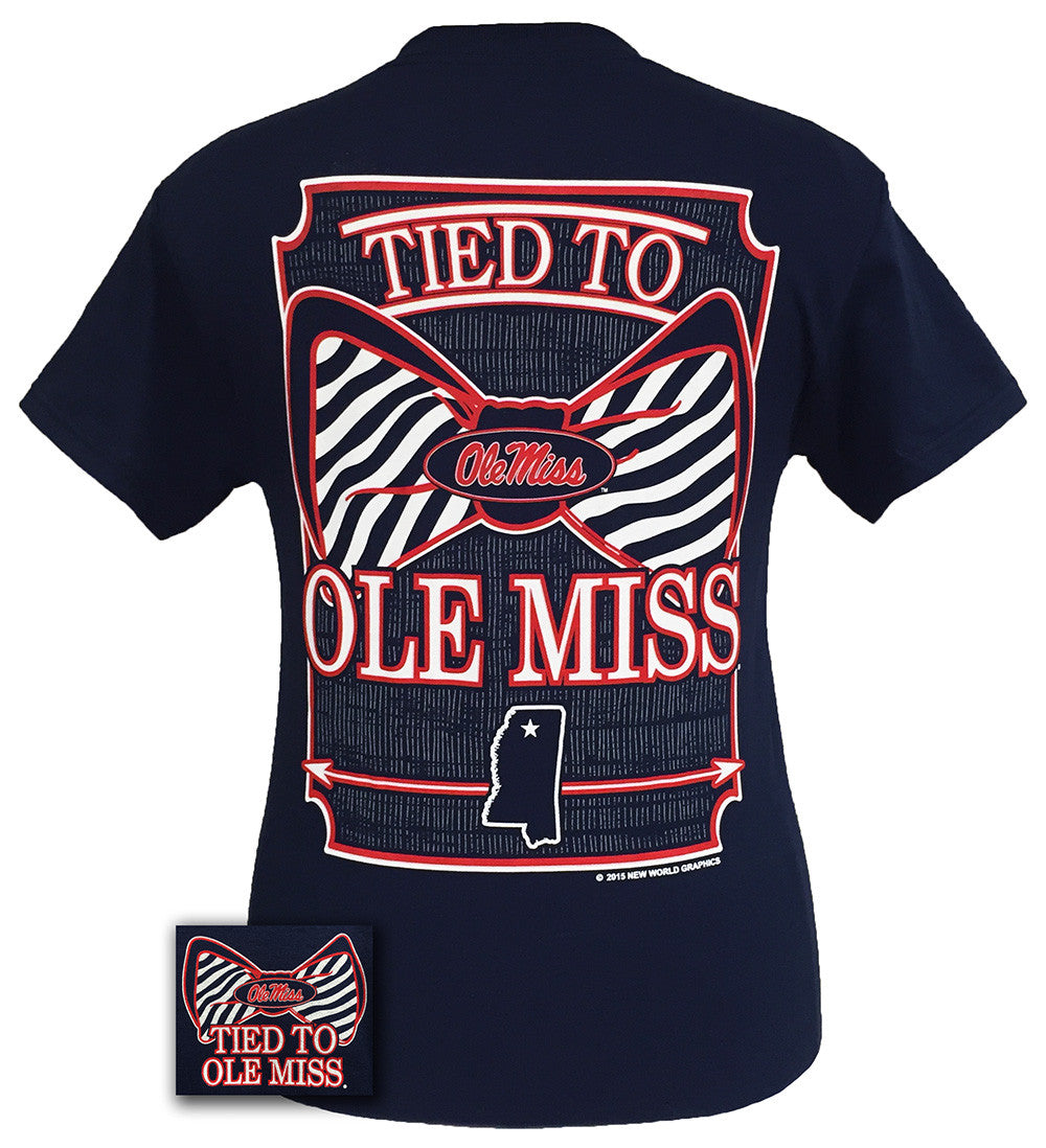 Mississippi Ole Miss Rebels Tied To Prep Bow Girlie Bright T Shirt