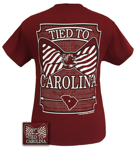New Tied To South Carolina Gamecocks Big Prep Bow Girlie Bright T Shirt