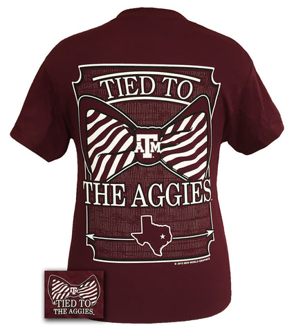 Texas A&M Aggies Tied To Big Preppy Bow Girlie Bright T Shirt - SimplyCuteTees