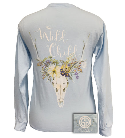 SALE Girlie Girl Wild Child Comfort Colors Chambray Bright Long Sleeve T Shirt