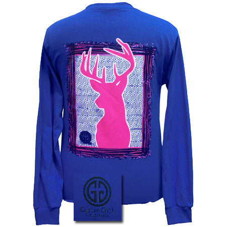 Girlie Girl Originals Collection Preppy Deer Country Blue Bright Long Sleeves T Shirt - SimplyCuteTees