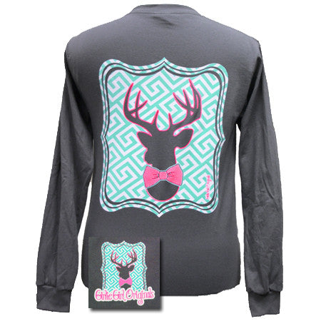 Girlie Girl Originals Collection Preppy Deer Country Bright Long Sleeves T Shirt - SimplyCuteTees