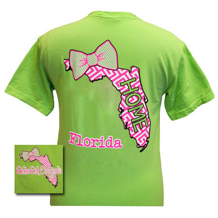 Girlie Girl Originals Florida Preppy State Bow Comfort Colors Bright T Shirt - SimplyCuteTees