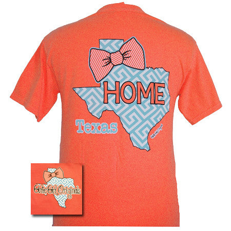 Girlie Girl Originals Texas Preppy State Bow Comfort Colors Bright T Shirt