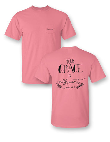 Sassy Frass Captivated His Grace is Sufficient Comfort Colors Christian Pocket Bright Girlie T Shirt