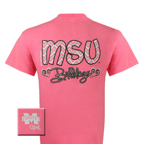 MSU Mississippi State Bulldogs Chevron Heart Pink Girlie Bright T Shirt