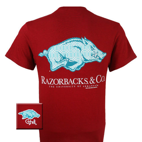 SALE Arkansas Razorbacks and Co Delta Girlie Bright T Shirt